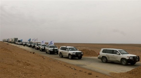 قافلة مساعدات إنسانية في طريقها لمخيم الركبان السوري (تويتر)