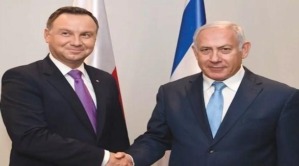 رشيس الوزراء الإسرائيلي بنيامين نتانياهو والرئيس البولندي أندرييه دودا (أرشيف)
