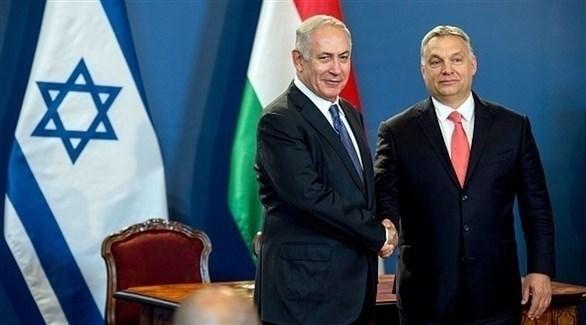 رئيس وزراء المجر فيكتور أوربان ونظيره الإسرائيلي بنيامين نتانياهو (أرشيف)