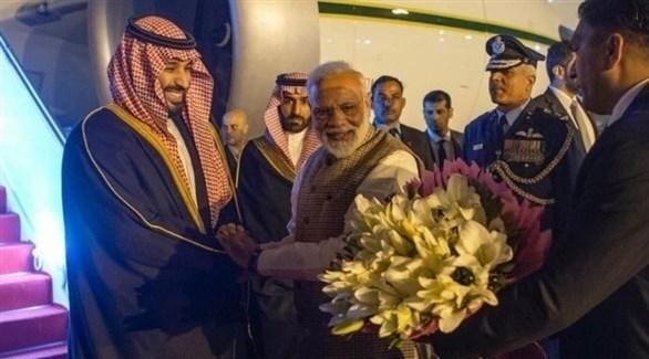 رئيس الوزراء الهندي ناريندرا مودي يستقبل الأمير محمد بن سلمان (تويتر)