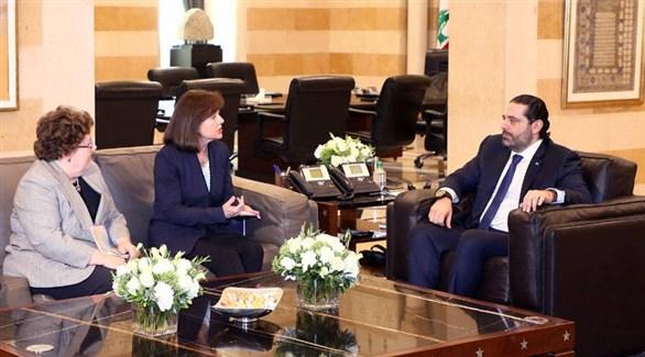 رئيس الحكومة اللبنانية سعد الحريري والسفيرة الأمريكية  بلبنان إليزابيث ريتشارد  (الجمهورية)