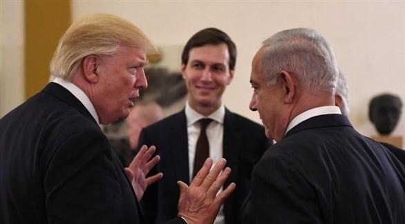 رئيس الوزراء الإسرائيلي بنيامين نتانياهو والرئيس الأمريكي دونالد ترامب وصهره جاريد كوشنر (أرشيف)