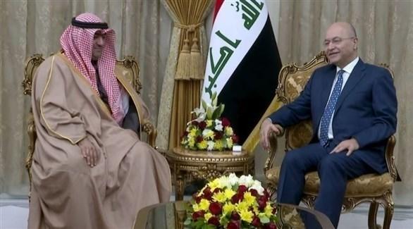 الرئيس العراقي برهم صالح، وزير التجارة الكويتي خالد الروضان (تويتر)