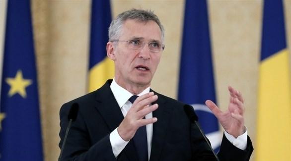 الأمين العام لحلف شمال الأطلسي ينس ستولتنبرغ متحدثاً للصحفيين (EAP)
