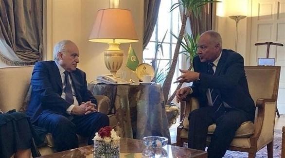 الأمين العام لجامعة الدول العربية أحمد أبو الغيط والمبعوث الأمم غسان سلامة (أرشيف)