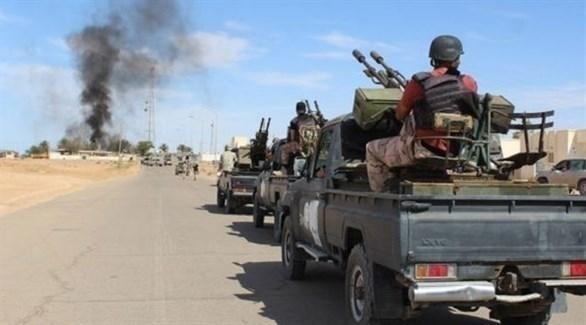 الجيش الليبي خلال اشتباكات مع ميليشيات تشادية جنب البلاد (أرشيف)