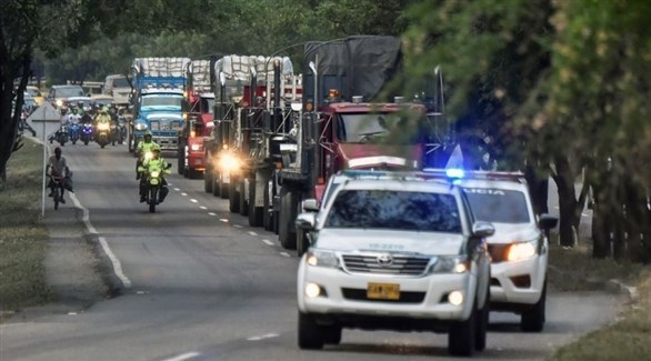 شحنة المساعدات في طريقها إلى نقطة التفنيش الفنزويلية قادمة من البرازيل (EPA)