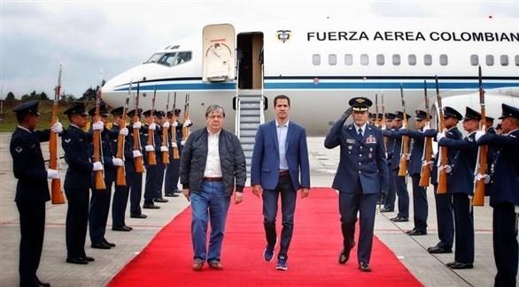 المعارض الفنزويلي غوايدو لدى وصوله إلى كولومبيا (تويتر)