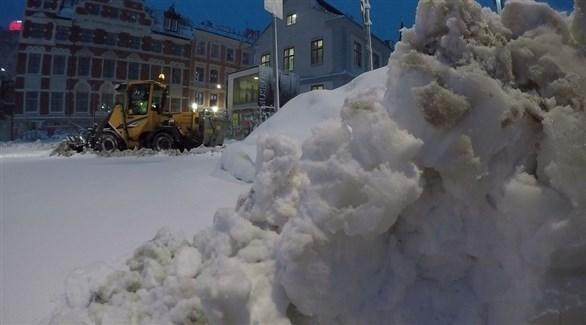 الثلوج في أحد شوارع ستوكهولم