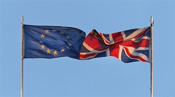 علم بريطانيا وعلم الاتحاد الأوروبي (أرشيف)