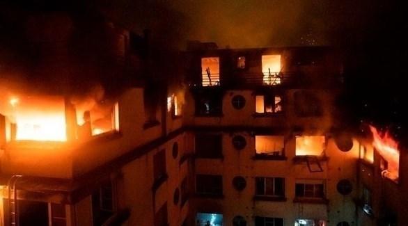 الحريق الذي تسبب بمقتل 10 أشخاص في باريس (تويتر)