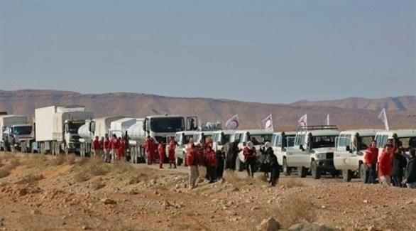 قافلة مساعدات أممية تضم 133 شاحنة محمَّلة مواد إغاثية تصل إلى مخيم الركبان (أ ف ب)