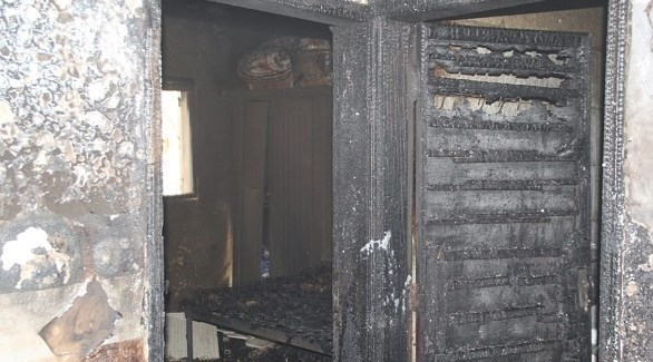 أحد المنازل المحترقة في عجمان (من المصدر)