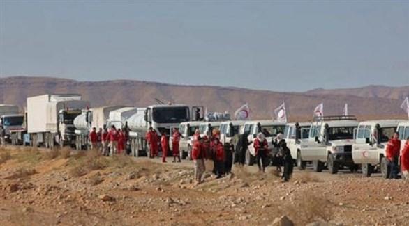 مساعدات إنسانية في طريقها إلى نازحين سوريين (أرشيف)