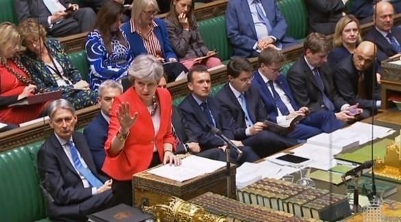 رئيسة الوزراء البريطانية تيريزا ماي أمام مجلس النواب (إ ب ا)