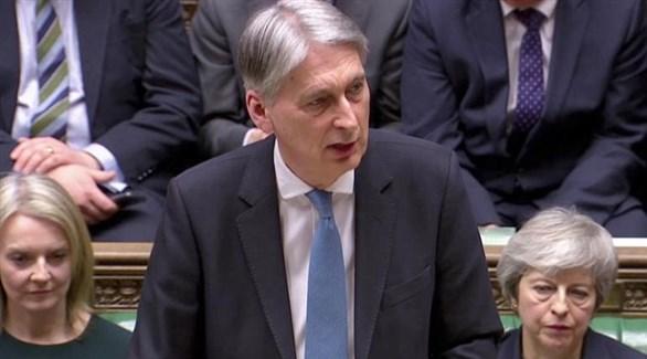 وزير الخزانة البريطاني فيليب هاموند اليوم أمام مجلس العموم (رويترز)
