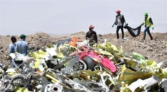 أعمال البحث في مكان تحطم طائرة الإثيوبية المنكوبة (وكالات)