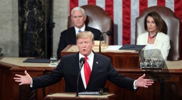 الرئيس الأمريكي دونالد ترامب أمام الكونغرس خلال خطاب الأمة (أرشيف)