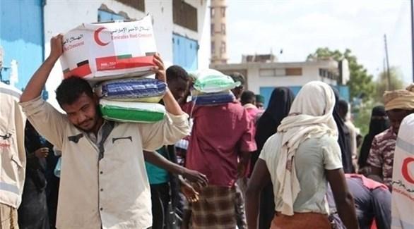مساعدات الهلال الأحمر الإماراتي في حضرموت (أرشيف)