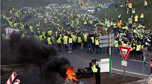 جانب من إحدى مظاهرات السترات الصفراء في فرنسا (أرشيف)
