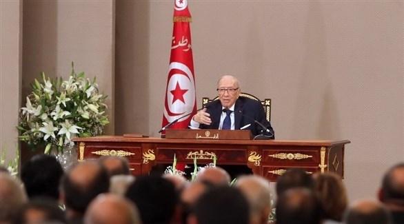 السبسي متحدثاً في قصر قرطاج (الرئاسة التونسية / فيس بوك)