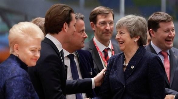 رئيسة الوزراء البريطانية خلال اجتماع المجلس الأوروبي في بروكسل (EPA)