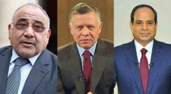 الرئيس المصري والعاهل الأردني ورئيس الوزراء العراقي (أرشيف)