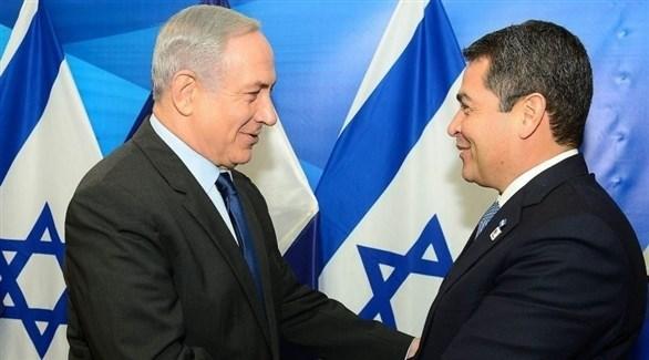 رئيس الوزراء الإسرائيلي بنيامين نتانياهو ورئيس هندوراس خوان اورلاندو هرنانديز (أرشيف)