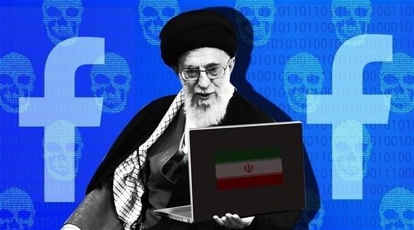 المرشد الإيراني وخلفه شعار فيس بوك (أرشيف / دايلي بيست)