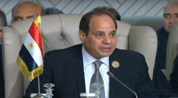 الرئيس المصري عبد الفتاح السيسي خلال كلمته بالقمة العربية في تونس (المصدر)