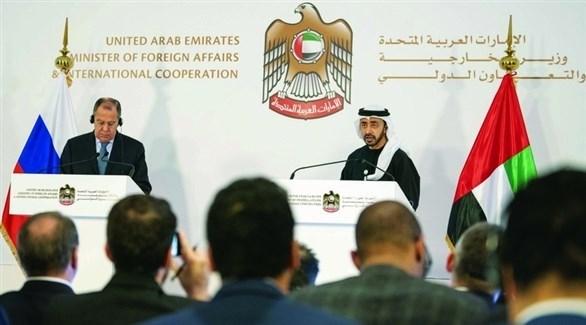 الشيخ عبدالله بن زايد آل نهيان وسيرغي لافروف خلال مؤتمر صحافي (أرشيف)