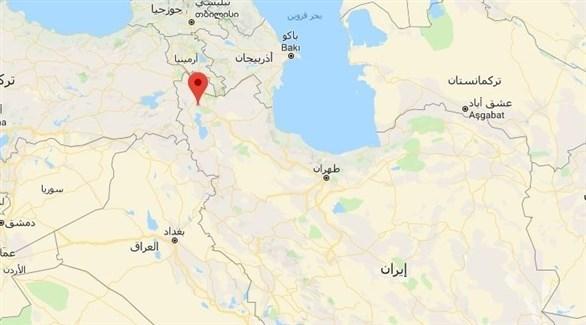 الخريطة تظهر مكان وقوع الهزة في غربي إيران (المرصد الأمريكي)