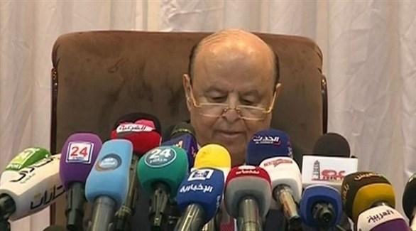 الرئيس اليمني عبدربه منصور هادي خلال افتتاح جلسة مجلس النواب في مدينة سيئون (المصدر )