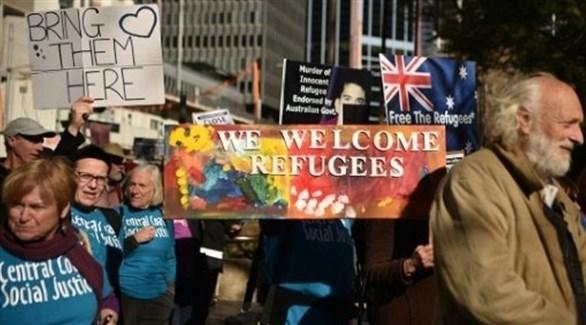 أستراليون مناهضون لاحتجاز طالي اللجوء في سيدني  (أ ف ب)