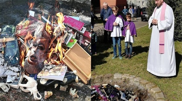 جانب من عمليات حرق الكتب (فيس بوك)