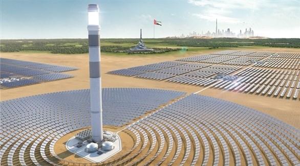 رسم تصميمي لبرج انتاج الطاقة الشمسية