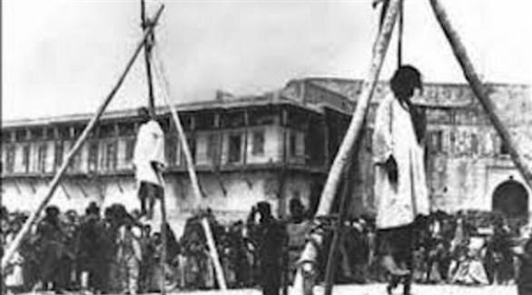 مشاهد من إعدامات جماعية نفذها الأتراك العثمانيون بحق العرب (أرشيف)