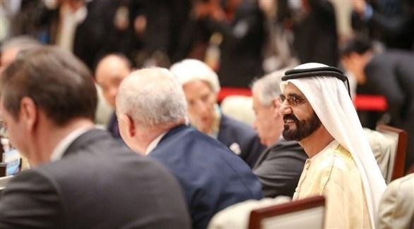 محمد بن راشد في اجتماعات قمة المائدة المستديرة لمنتدى الحزام والطريق (تويتر)
