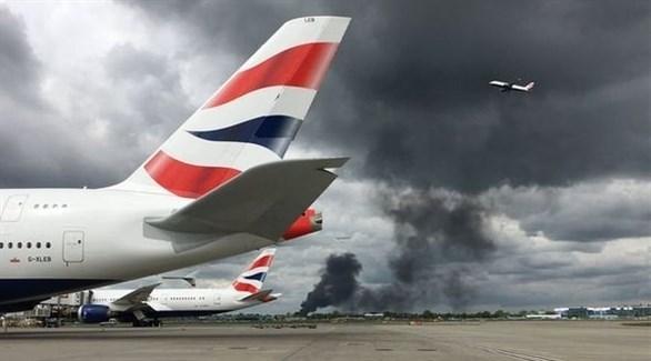 حريق بالقرب من مطار هيثرو في لندن (تويتر)