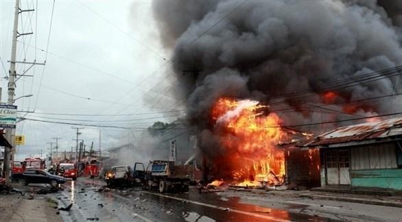نيران مشتعلة بعد انفجار مبنى في جنوب الفلبين (أرشيف)