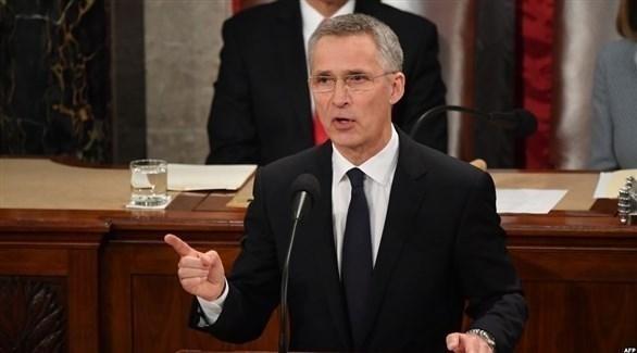 أمين عام حلف شمال الأطلسي ينس ستولتنبرغ في كلمة أمام الكونغرس (أ ف ب)