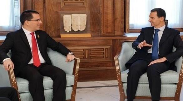 الرئيس السوري بشار الأسد خلال لقائه وزير الخارجية الفنزويلي خورخي أريازا (سانا)