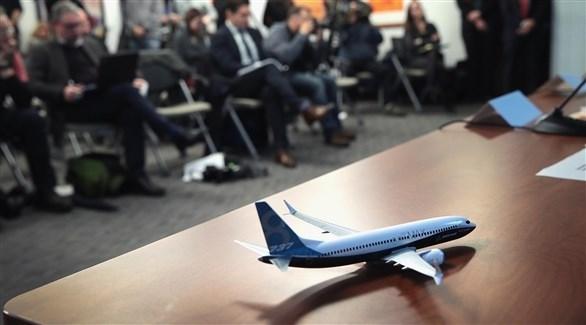 طائرة من طراز بوينغ معروضة خلال مؤتمر صحفي لضحايا الطائرة (اي بي ايه)