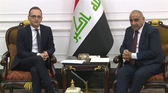 رئيس الوزراء العراقي عادل عبد المهدي خلال لقاء له مع وزير الخارجية الالماني هايكو ماس (أرشيف)