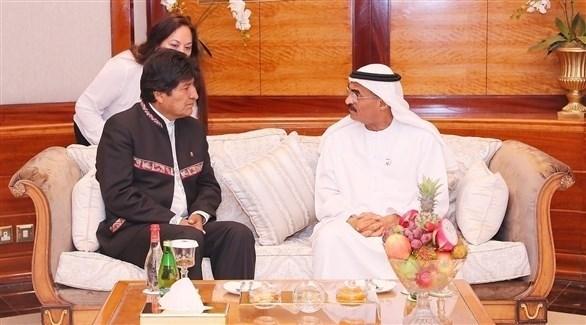 لقاء الرئيس البوليفي والدكتور عبدالله بلحيف النعيمي (وام)