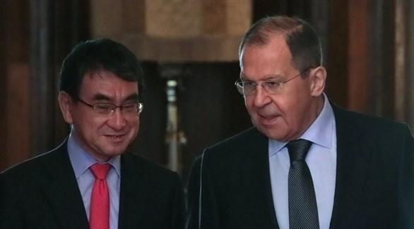 لقاء وزيري الخارجية الروسي سيرغي لافروف والياباني تارو كونو في موسكو (روسيا اليوم)