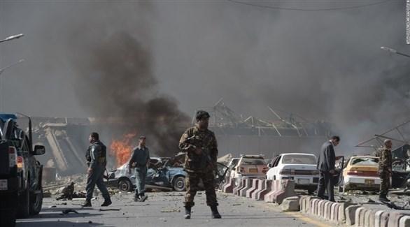 عسكريون أفغان بعد تفجير في العاصمة كابول (أرشيف)
