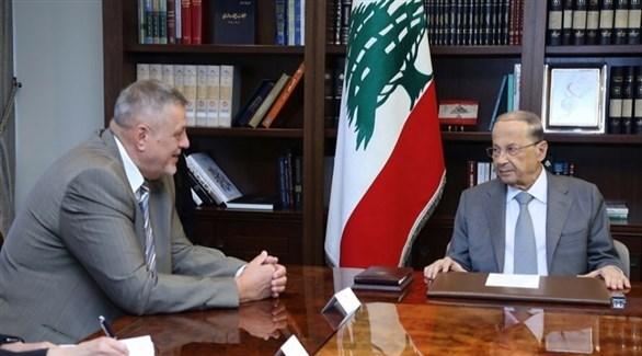 الرئيس اللبناني ميشال عون والمنسق الخاص للأمم المتحدة في لبنان يان كوبيتش (أرشيف)