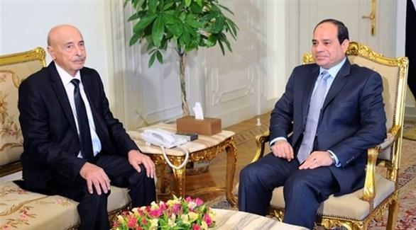 الرئيس المصري عبد الفتاح السيسي ورئيس مجلس النواب الليبي عقيلة صالح (أرشيف)