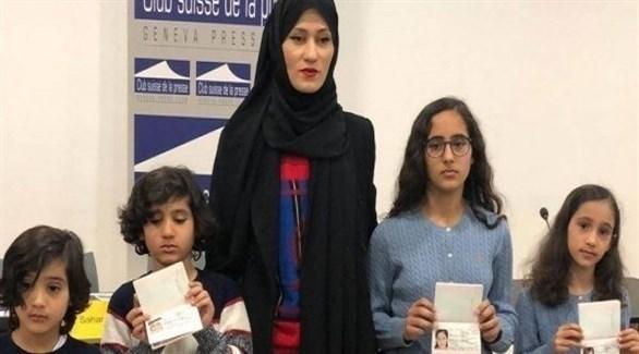 زوجة حفيد مؤسس قطر الشيخ طلال آل ثاني  أسماء الريان وأطفالها ( أرشيف)